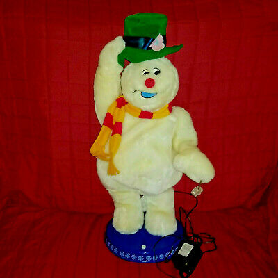 Gemmy SNOWFLAKE SPINNING FROSTY Animated Snowman Sings Dances +Adapter SEE VIDEO