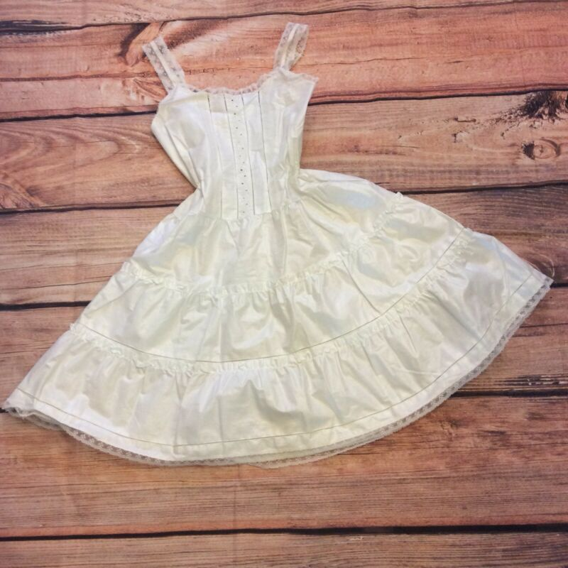 Singing Needles Vintage Girls Slip Petticoat Size 10 Tiered White