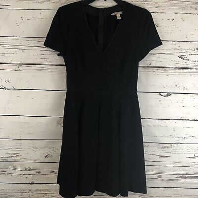 Banana Republic Black A Line VNeck Career Dress Size 4 Zippered Back Career Midi