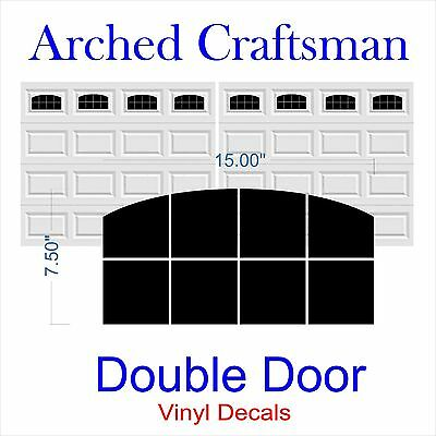 Garage Door Vinyl Window Decals Arched Craftsman - Double Door - Faux Windows