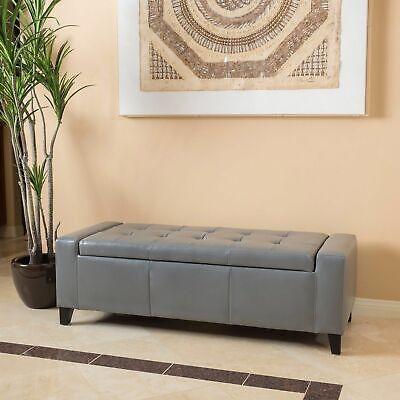 Robin Grey Leather Storage Ottoman Bench ()