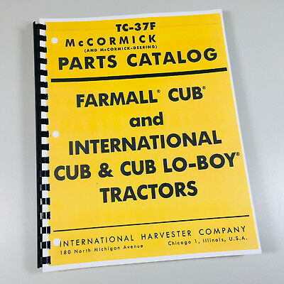 Farmall Cub International Cub Lo Boy Tractor Parts Manual Catalog Mccormick