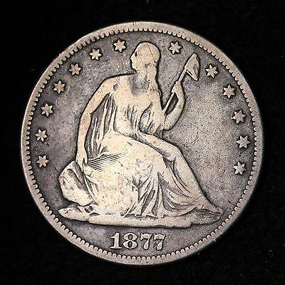 1877-S SEATED LIBERTY HALF DOLLAR CHOICE F