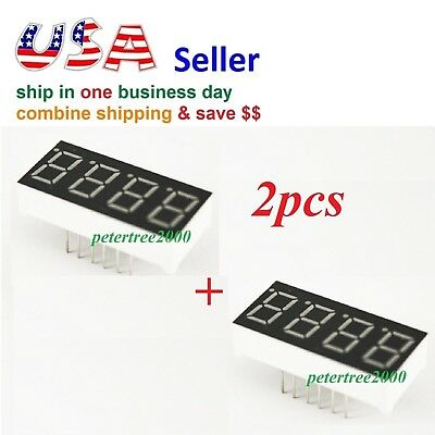 2pcs 4 Digit Red 7 Segment Led Display Digital Tube Common Anode 12 Pins Arduino