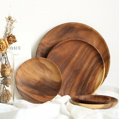 Acacia Wood Round Plate Serving Tray Wooden Platter Home Cheese Dishes (Round Serving Trays)