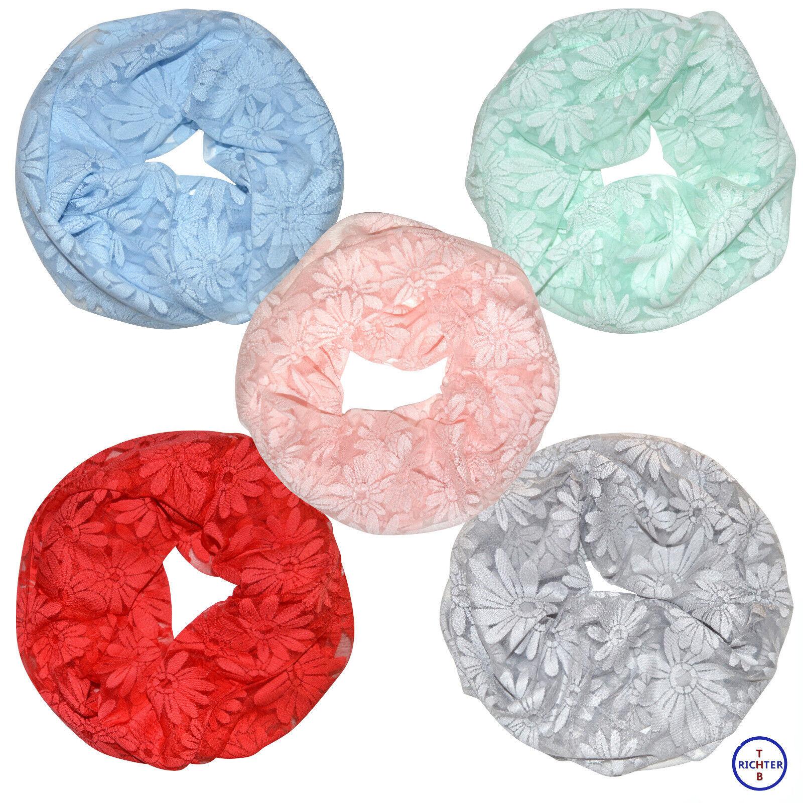 Damen Loopschal Blumen Spitzen einfarbig Punkte Rundschal Schlauch Schal Spitze