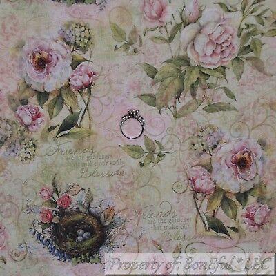 BonEful FABRIC Cotton Quilt Cream Pink Rose*Bud Flower Spring Bird Nest US SCRAP