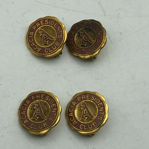 Vintage Lot 4 Acacia Presidents Club Lapel Pin Fraternity Award Rare  G1