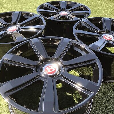 21 INCH BENTLEY CONTINENTAL FLYING SPUR SPEED RIMS BLACK  OEM SET 4 STOCK
