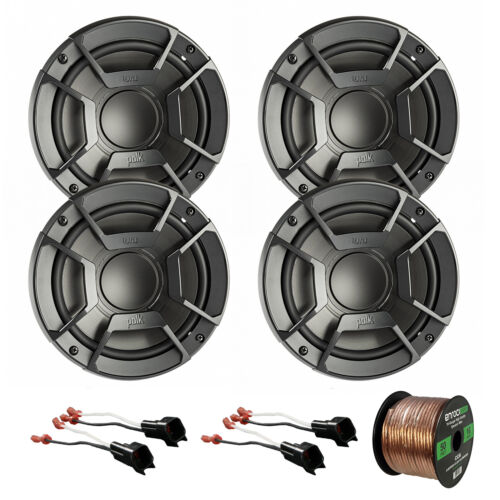 """4X Polk 6.5"""" 300W Car/Boat/ATV Speakers, 4X Adapter for Ford, 50' Wire"""