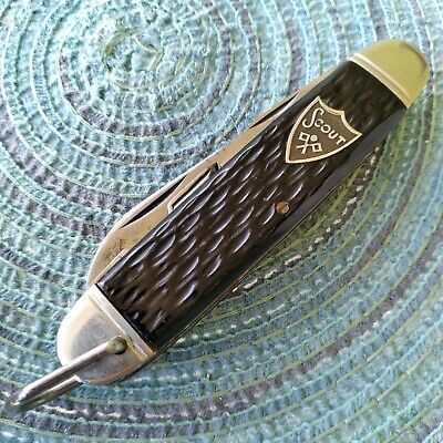 Vintage Antique Camillus New York 4 Line Camp Scout Utility Pocket Knife
