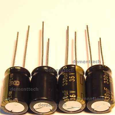 4x Panasonic Fm 330uf 35v Low-esr Radial Capacitors Caps 105c 10mm 10x16
