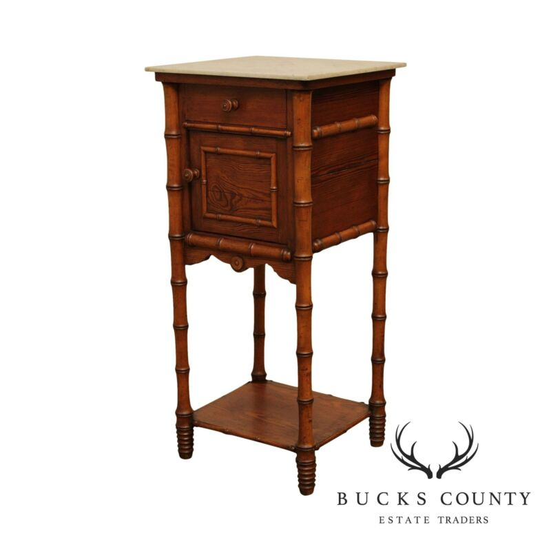 Antique Victorian Faux Bamboo, Marble Top Bed Side Cabinet, Nightstand