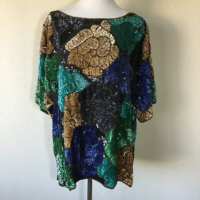 Sequince Top Multicolored Short Sleeve. Fully Lined. Beautiful](Sequince Shorts)