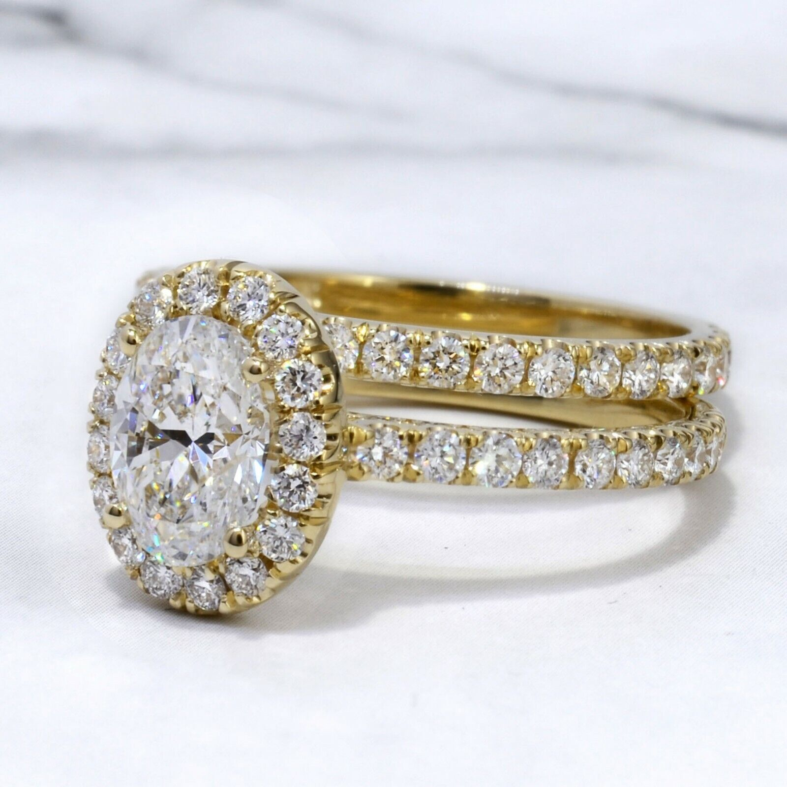 3.00 TCW Natural Oval Cut Halo Pave Diamond Engagement Wedding Set - GIA 2