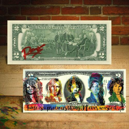 27 CLUB Hendrix Joplin Morrison Cobain Winehouse $2 US Bill by RENCY Hand-Signed