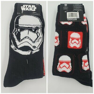 2 Pair Star Wars Crew Socks Adult Shoe 6-12 Sock 10-13 Stormtrooper Gift L3 M