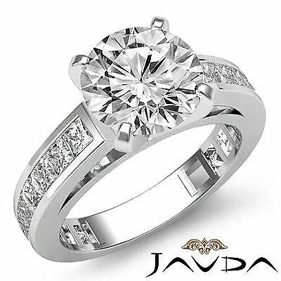 Classic 4 Prong Channel Set Round Diamond Engagement Ring GIA G Color VS2 2.2Ct