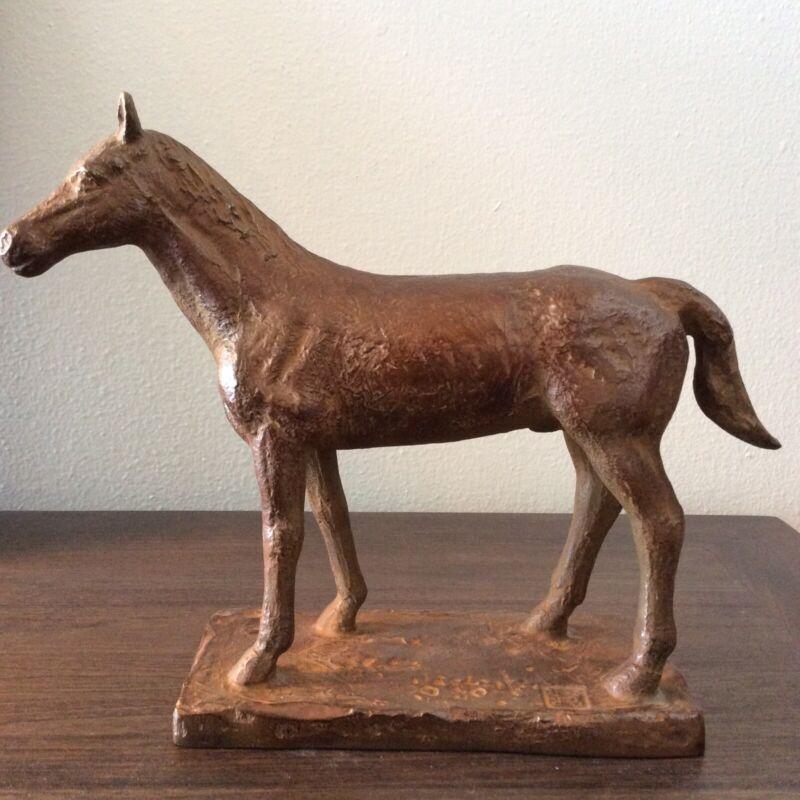 """Beautiful Japanese Bronze Horse Okimono Signed 8""""X10"""""""
