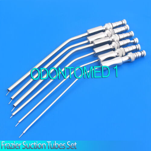 6 Frazier Suction Tubes Set 6,7,8,9,11,12 Fr Non Magnet Surgical Instrument
