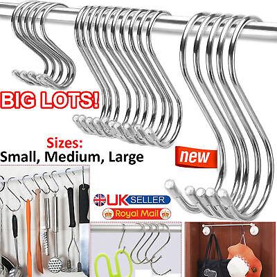 Small S Hooks (Stainless Steel S Hooks 10/20/30/40/50 Kitchen Utensil Clothes Hanger Hanging)