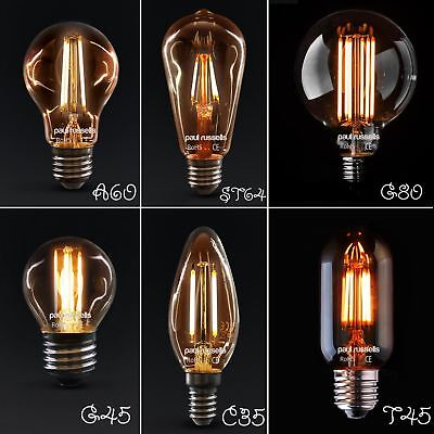 25W 40W 60W 80W E27 B22 E14 Vintage Retro Amber Filament Edison LED Light Bulb