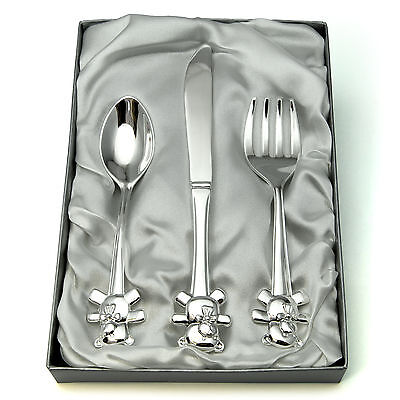 Personalised Silver Plated Cutlery Set Fork Spoon Knife Baby's Christening Gift