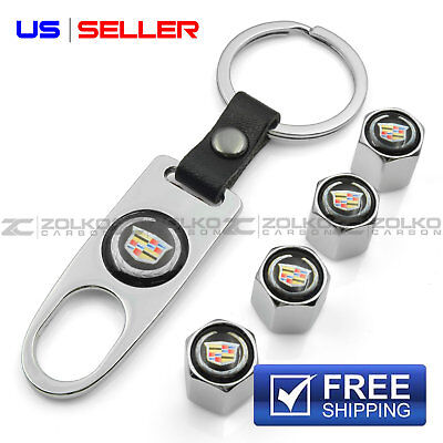 VALVE STEM CAPS KEYCHAIN KEYRING WHEEL FOR CADILLAC KEY FOB KEYS - US SELLER