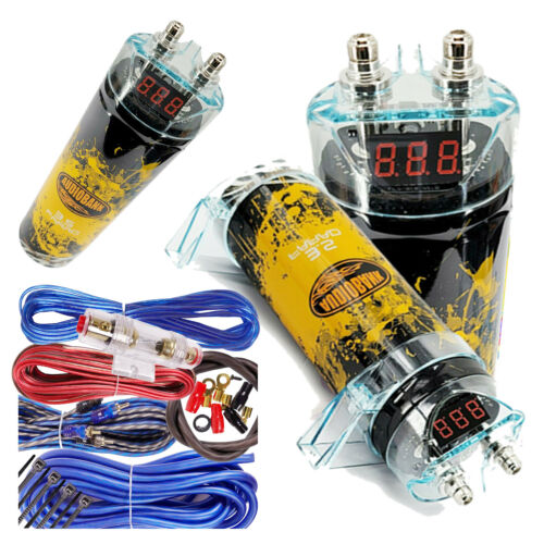 3500 Watts PRO 3.5 Farad Capacitor Car Audio Power 12V Display + 8 Ga KIT BLUE
