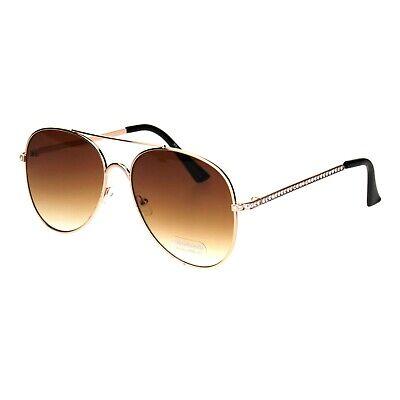 Womens Aviator Sunglasses Rhinestones Temple Metal Frame UV - Metal Frame Rhinestones