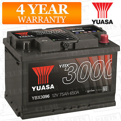 Car Battery YBX3096 Calcium Black Case SMF & SOCI 12V 650CCA 75Ah T1 by Yuasa