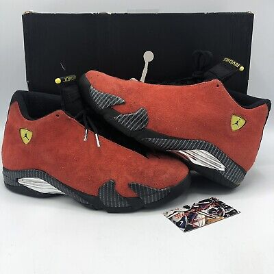 Air Jordan Retro 14 XIV Ferrari Red Suede 654459 670 Size 9.5 Black Toe I XI V 2