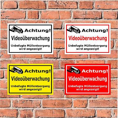 Schild Achtung Videoüberwachung - Müllentsorgung - in 4 Größen -