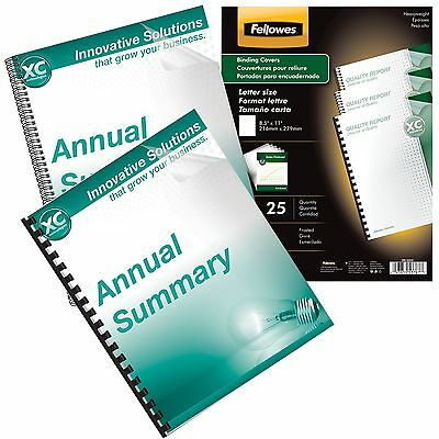 Fellowes Crc52243 Frosted Binding Covers 8.5 X 11 Heavy Weight Pack Of 25