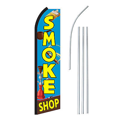 Smoke Shop - Advertising Sign Swooper Feather Banner Flag Pole Only