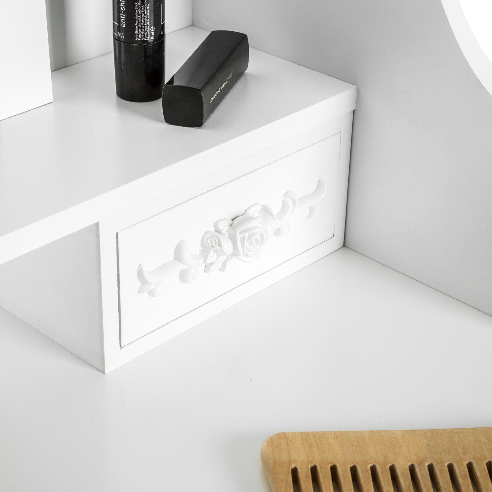 Coiffeuse meuble table de maquillage tabouret commode avec miroir 4 tiroir bl - Coiffeuse avec tiroir ...