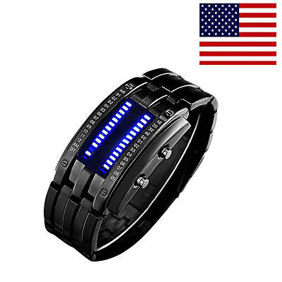 Mens Led Binary Matrix Blue Digital Waterproof Watch Waterproof Sports Watch Us