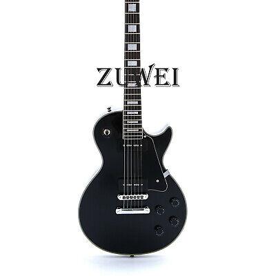 Custom LP Electric Guitar P90 Pickups T-O-M High Quality Black color