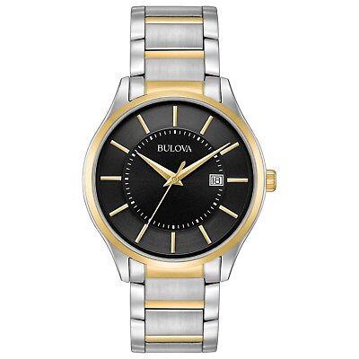 Bulova Men's Quartz Black Dial Two-Tone Bracelet 40mm Watch 98B290