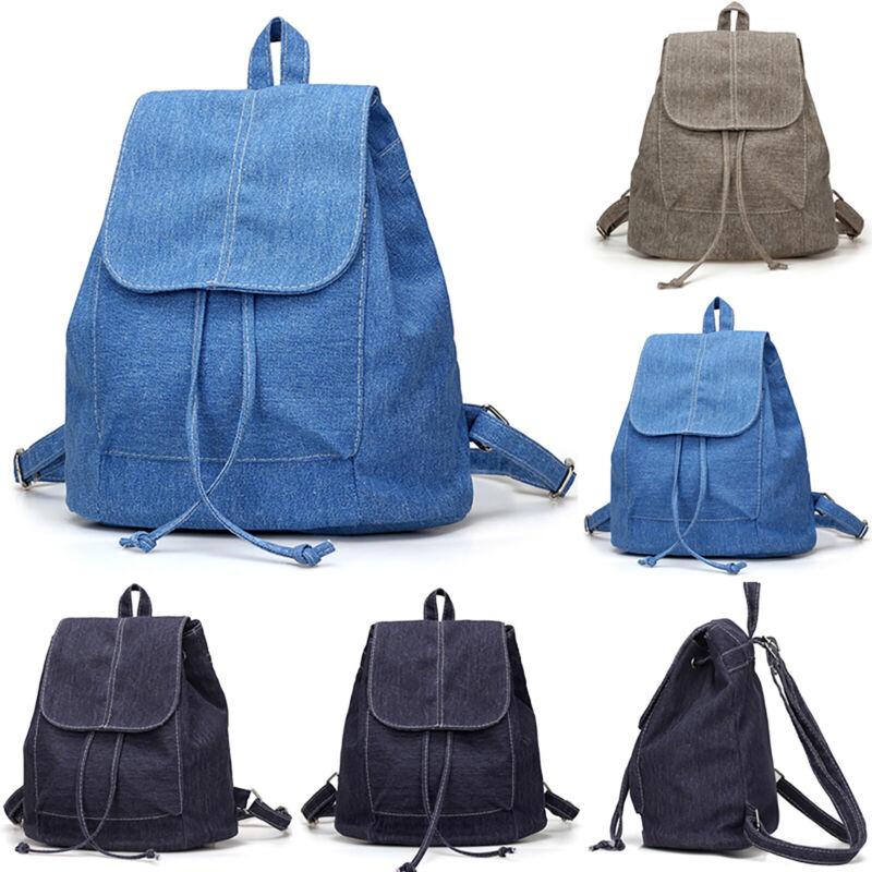 Women Canvas Backpack Drawstring Soulder Work School Bag Tra