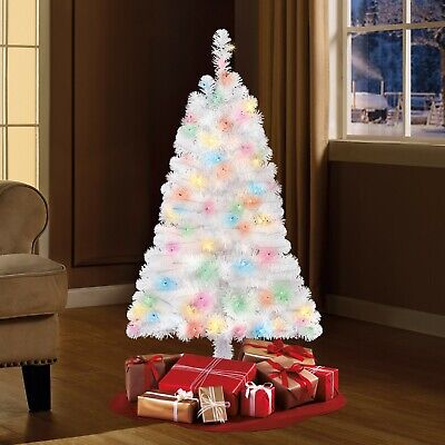 4 Ft White Spruce Pre-Lit Multi Color Christmas Tree