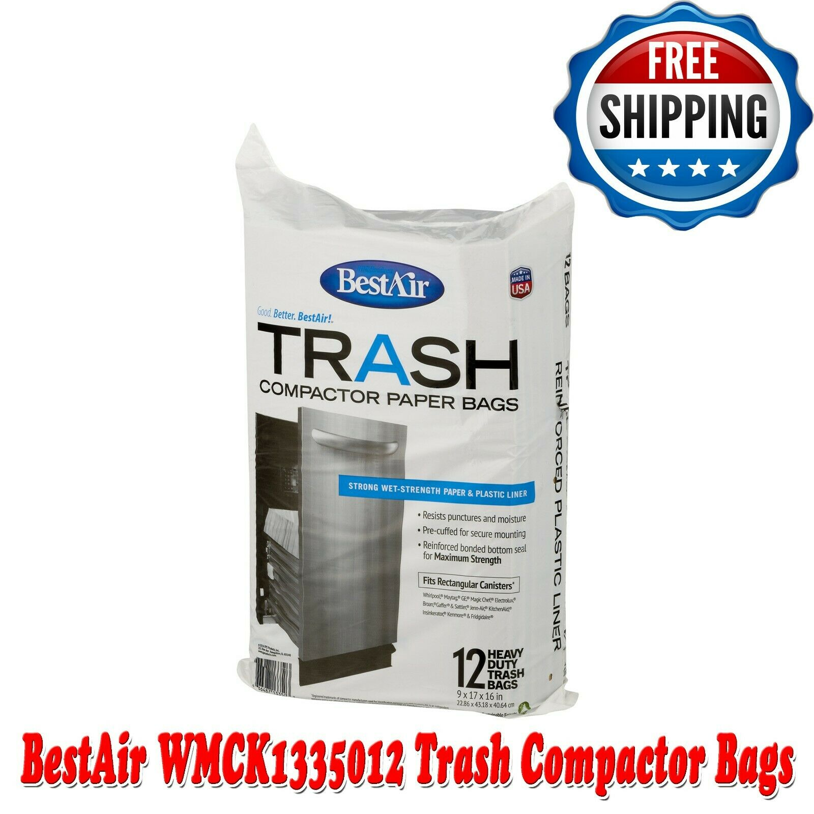trash compactor bags 12 bags strong wet