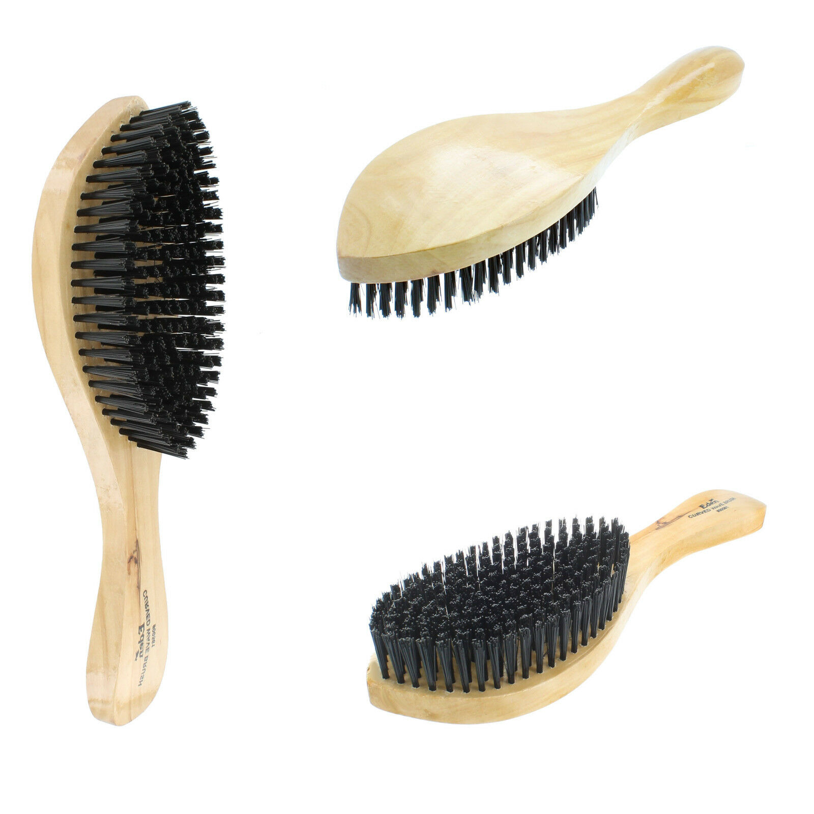 Curved Hard Boar Bristle Wave Hair Brush Wooden Handle Premi