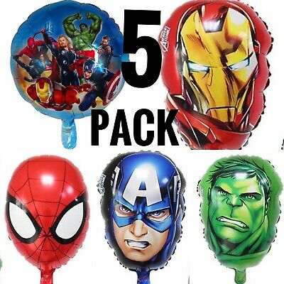 5PC Avengers Super Heroes Party Balloons Iron man Captain America SPIDERMAN Hulk