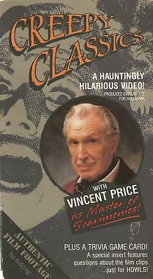 CREEPY CLASSICS: HALLOWEEN HORROR CLIPS + TRIVIA GAME CARD! (1988, VHS) RARE/OOP