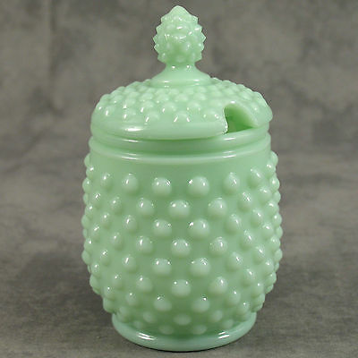 JADEITE GREEN GLASS LIDDED HOBNAIL SUGAR JAR HONEY POT w/ SPOON SLOT