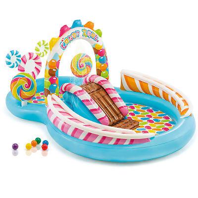 Intex Kids Inflatable Bon-bons Zone Swim Play Center Kids Splash Pool w/ Waterslide