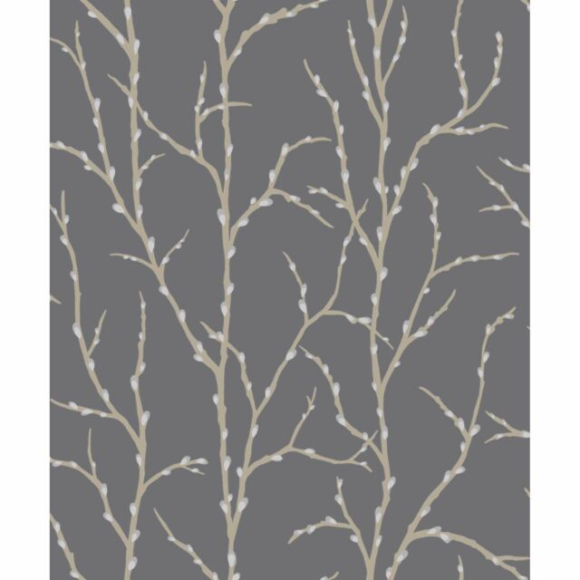 RASCH PUSSY WILLOW TREE WALLPAPER - CHARCOAL GREY & SILVER 309720 ROOM DECOR