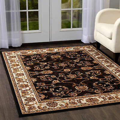Ebony Bordered Modern Area Rug Square Floral Carpet - Actual