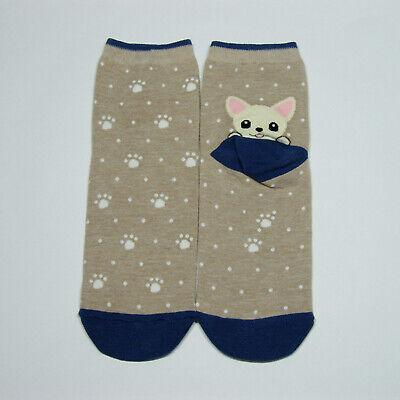 Pocket Puppy Friends Cute Character Socks Women Girl Big Kids Casual Funny Socks